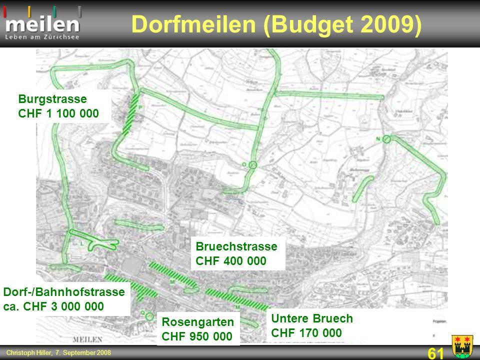 Dorfmeilen (Budget 2009) Burgstrasse CHF 1 100 000