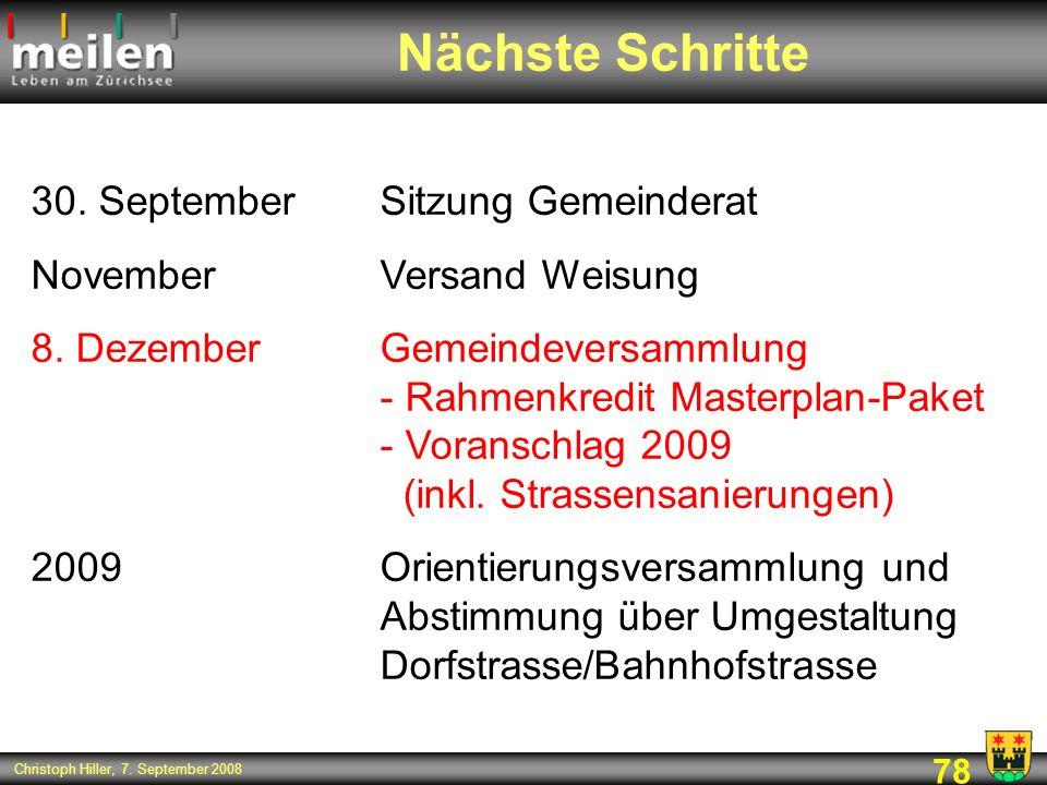 Nächste Schritte 30. September Sitzung Gemeinderat