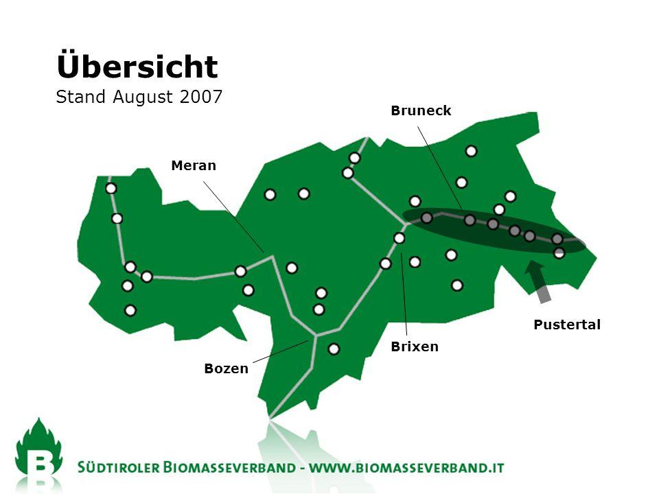 Übersicht Stand August 2007 Bruneck Meran Pustertal Brixen Bozen