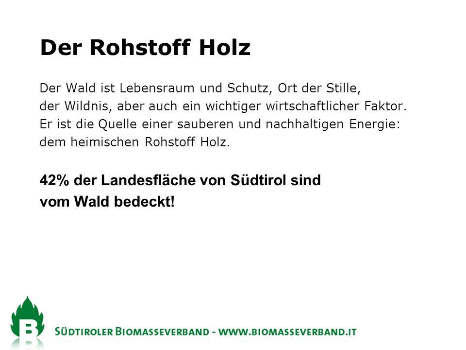 Der Rohstoff Holz 42% der Landesfläche von Südtirol sind