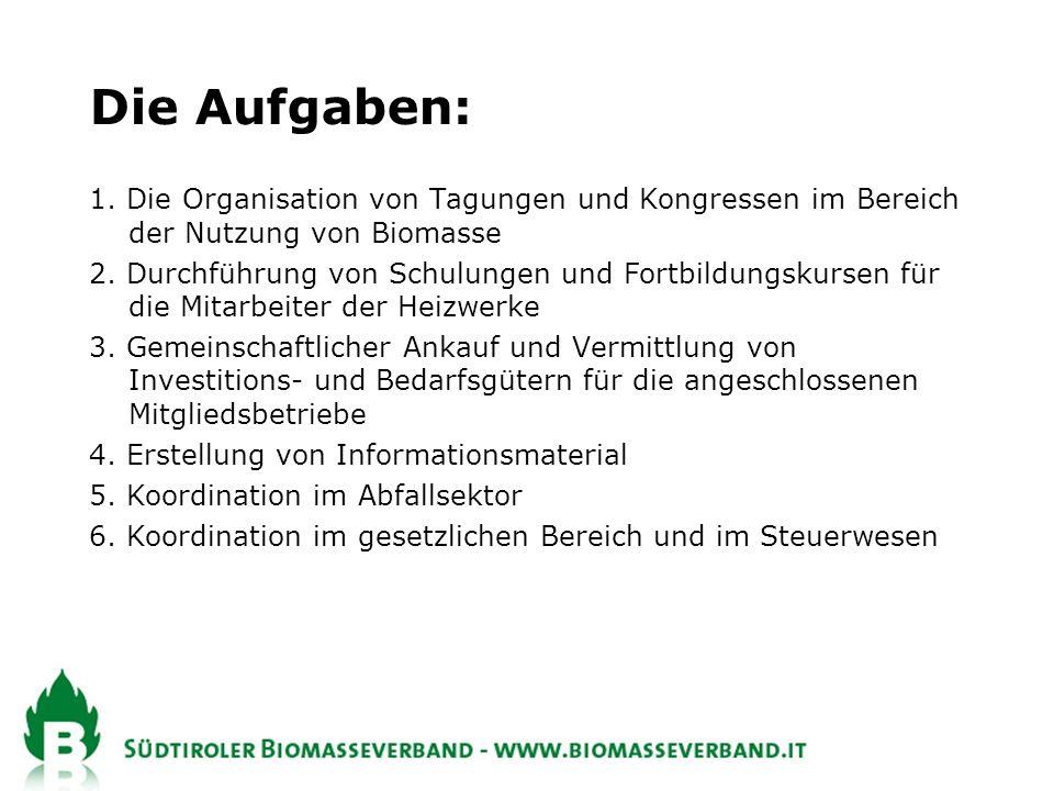 Die Aufgaben: 1. Die Organisation von Tagungen und Kongressen im Bereich der Nutzung von Biomasse.