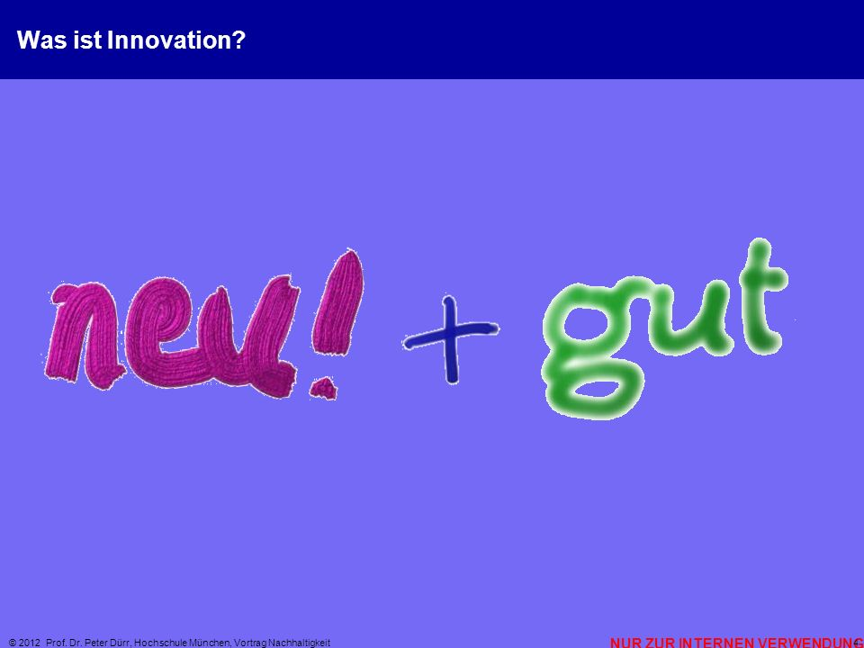 Was ist Innovation © 2012 Prof. Dr. Peter Dürr, Hochschule München, Vortrag Nachhaltigkeit