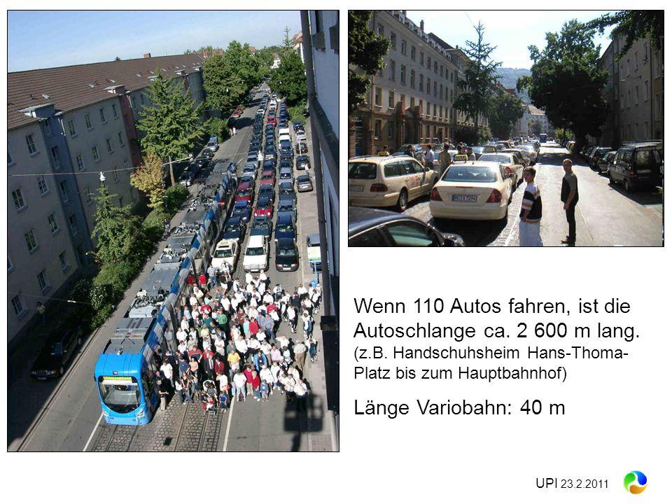 Wenn 110 Autos fahren, ist die Autoschlange ca. 2 600 m lang. (z. B