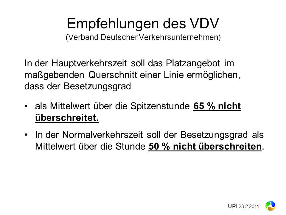 Empfehlungen des VDV (Verband Deutscher Verkehrsunternehmen)
