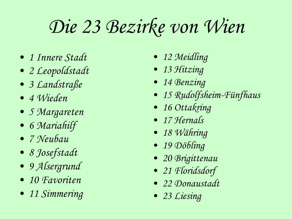 Die 23 Bezirke von Wien 1 Innere Stadt 2 Leopoldstadt 3 Landstraße
