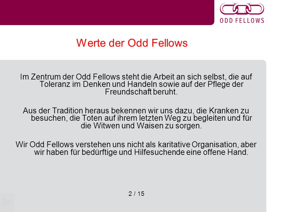 Werte der Odd Fellows