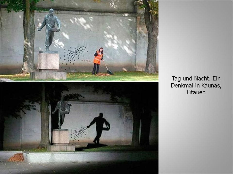 Tag und Nacht. Ein Denkmal in Kaunas, Litauen