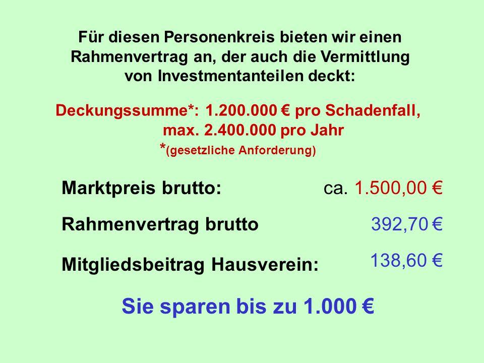 Sie sparen bis zu 1.000 € Marktpreis brutto: ca. 1.500,00 €
