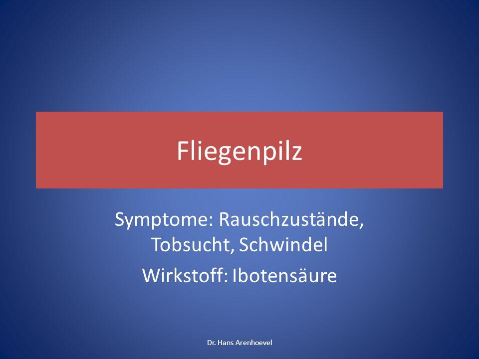 Symptome: Rauschzustände, Tobsucht, Schwindel Wirkstoff: Ibotensäure