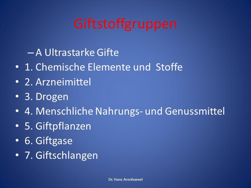 Giftstoffgruppen A Ultrastarke Gifte 1. Chemische Elemente und Stoffe