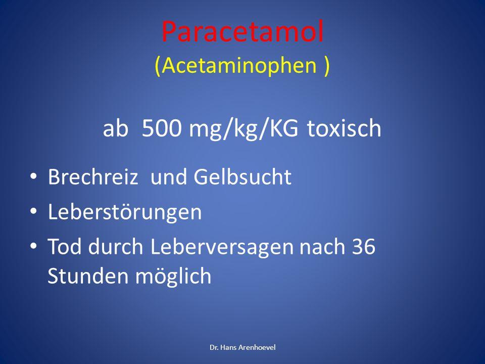 Paracetamol (Acetaminophen ) ab 500 mg/kg/KG toxisch