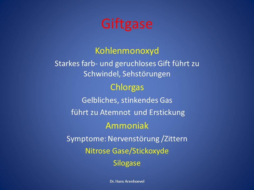 Giftgase Kohlenmonoxyd Chlorgas Ammoniak