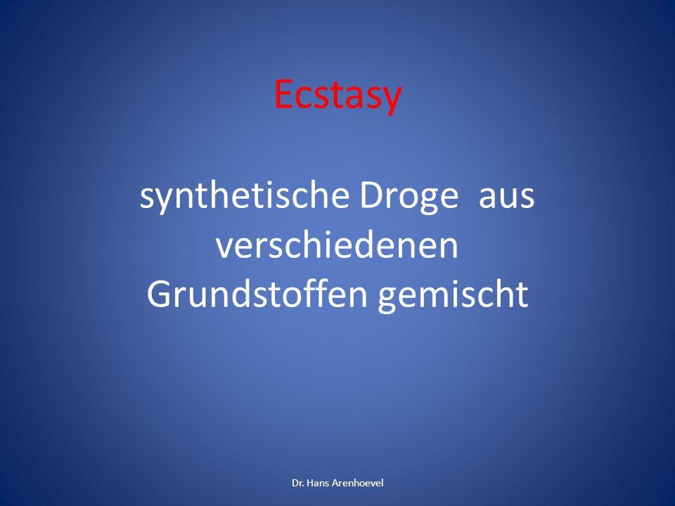 Ecstasy synthetische Droge aus verschiedenen Grundstoffen gemischt