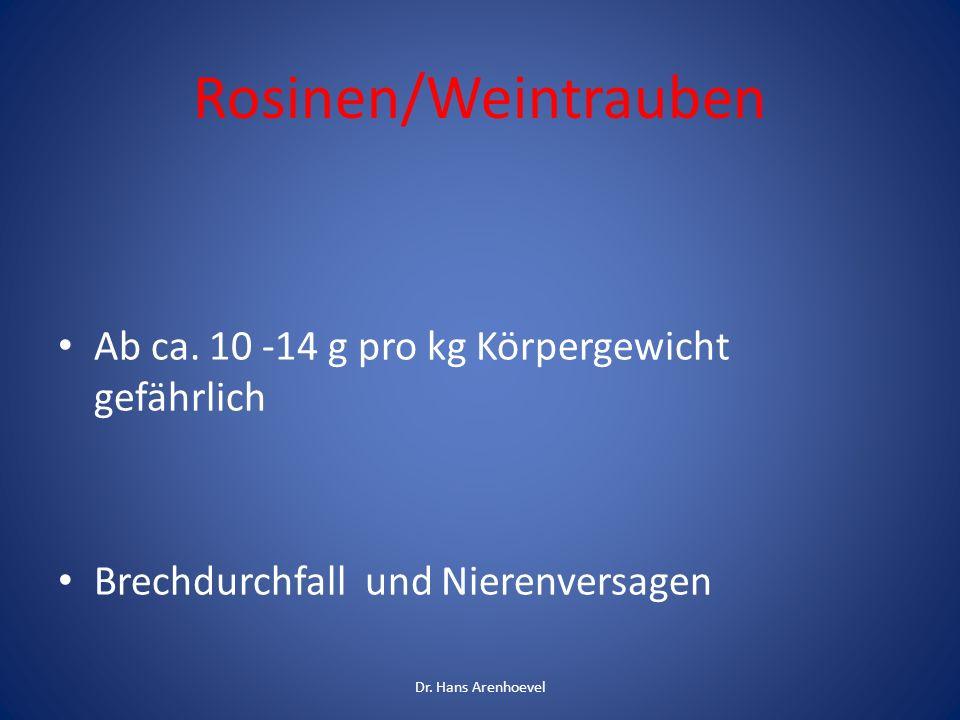 Rosinen/Weintrauben Ab ca. 10 -14 g pro kg Körpergewicht gefährlich