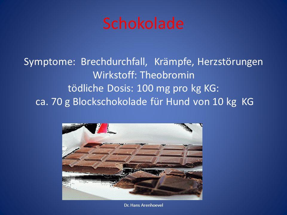 Schokolade Symptome: Brechdurchfall, Krämpfe, Herzstörungen Wirkstoff: Theobromin tödliche Dosis: 100 mg pro kg KG: ca. 70 g Blockschokolade für Hund von 10 kg KG
