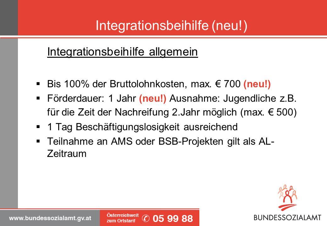 Integrationsbeihilfe (neu!)
