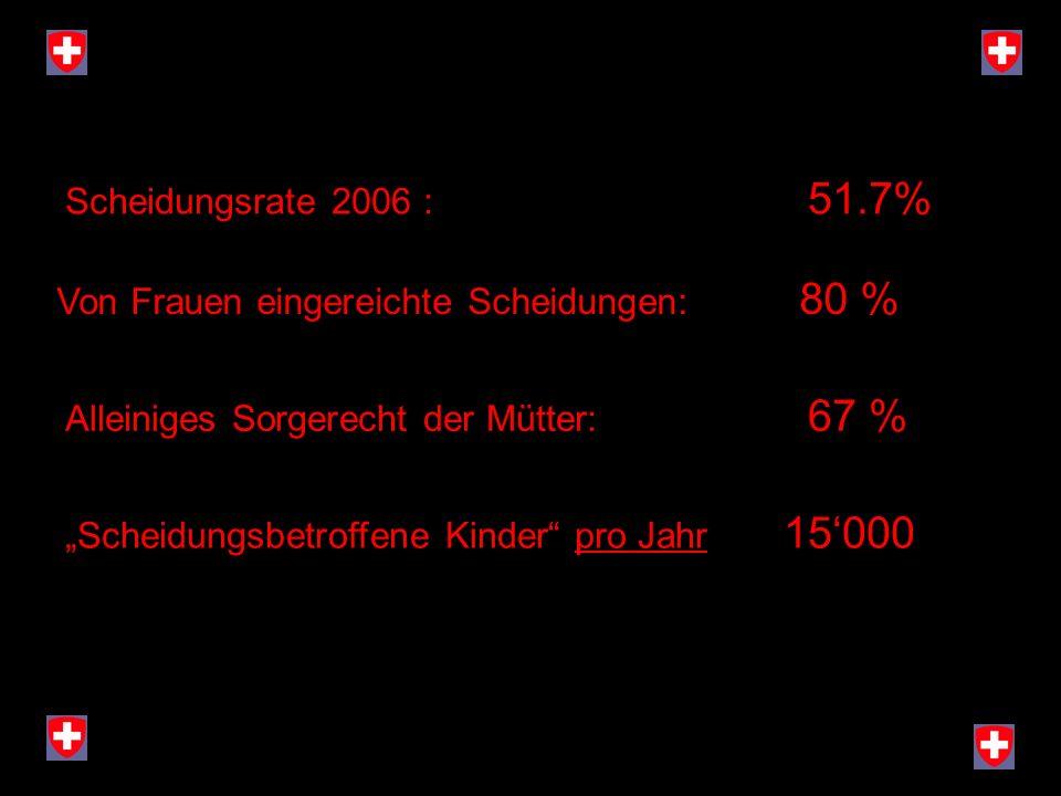 Scheidungsrate 2006 : 51.7% Von Frauen eingereichte Scheidungen: 80 % Alleiniges Sorgerecht der Mütter: 67 %