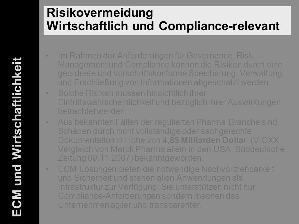 Risikovermeidung Compliance-relevant