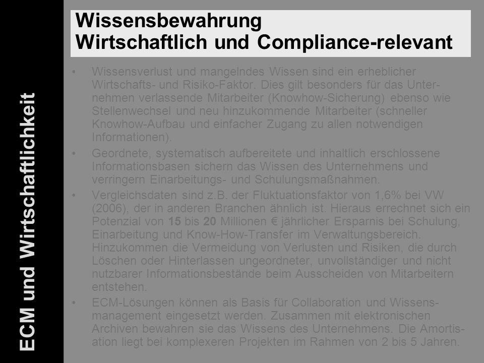 Wissensbewahrung Wirtschaftlich und Compliance-relevant