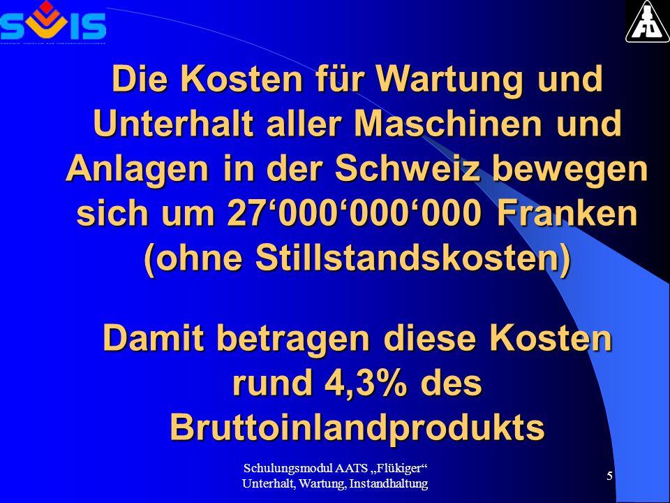 Die Kosten für Wartung und Unterhalt aller Maschinen und Anlagen in der Schweiz bewegen sich um 27'000'000'000 Franken (ohne Stillstandskosten) Damit betragen diese Kosten rund 4,3% des Bruttoinlandprodukts