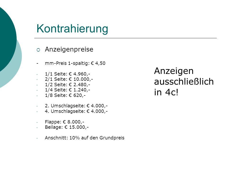 Kontrahierung Anzeigen ausschließlich in 4c! Anzeigenpreise