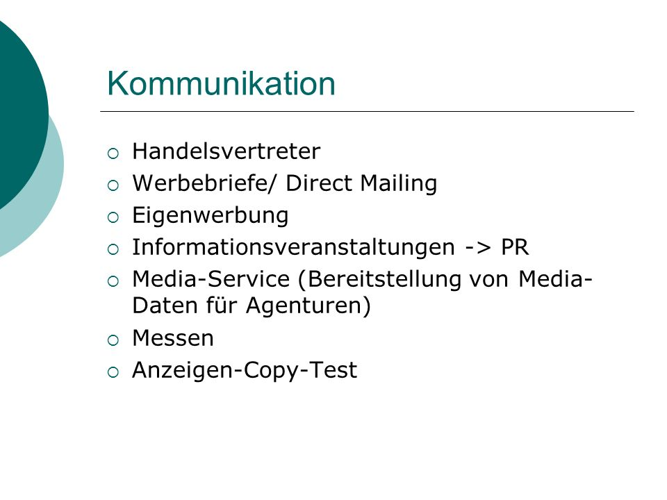 Kommunikation Handelsvertreter Werbebriefe/ Direct Mailing