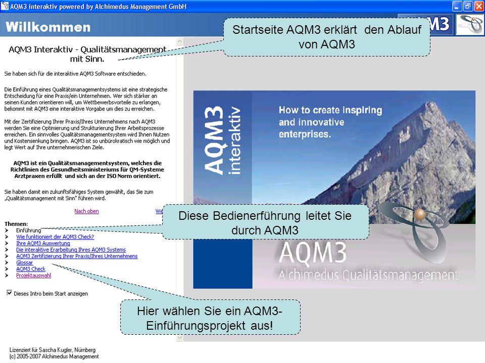 Startseite AQM3 erklärt den Ablauf von AQM3
