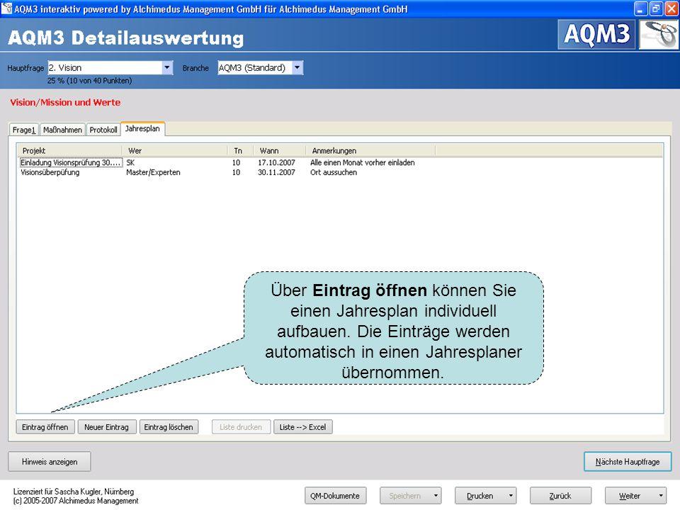Der Jahresplan zeigt an, welche Aktionen Sie jährlich aus AQM3-Sicht durchführen sollten. ISO-Relevanz wird entsprechend angezeigt.