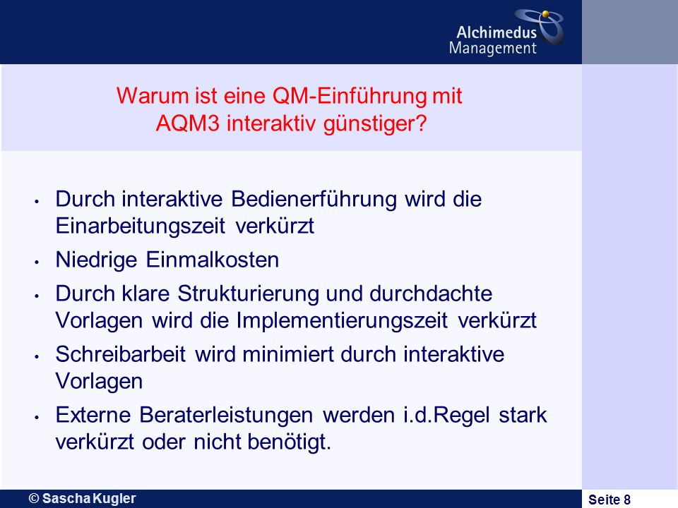 Warum ist eine QM-Einführung mit AQM3 interaktiv günstiger