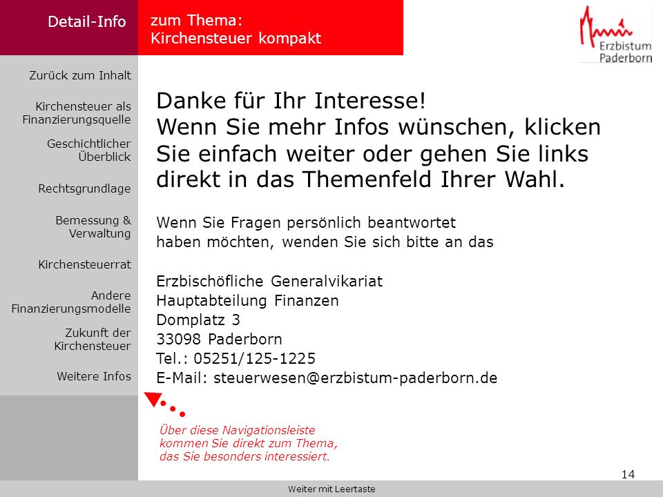 Detail-Info zum Thema: Kirchensteuer kompakt. Zurück zum Inhalt.