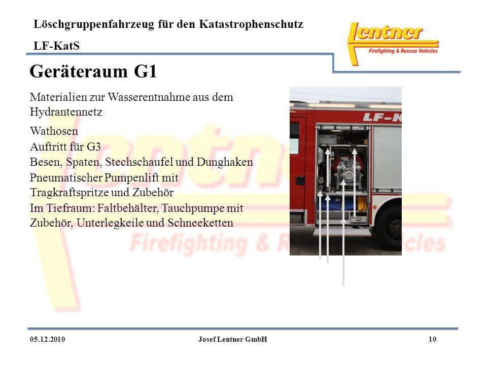 Geräteraum G1 Materialien zur Wasserentnahme aus dem Hydrantennetz