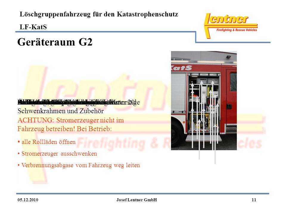 Geräteraum G2 Ablage mit Absperrstangen Alukiste Motorsäge und Zubehör