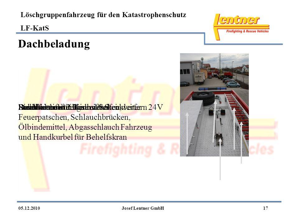 Dachbeladung Dachkasten mit: Einreißhaken, Feuerpatschen, Schlauchbrücken, Ölbindemittel, Abgasschlauch Fahrzeug und Handkurbel für Behelfskran.