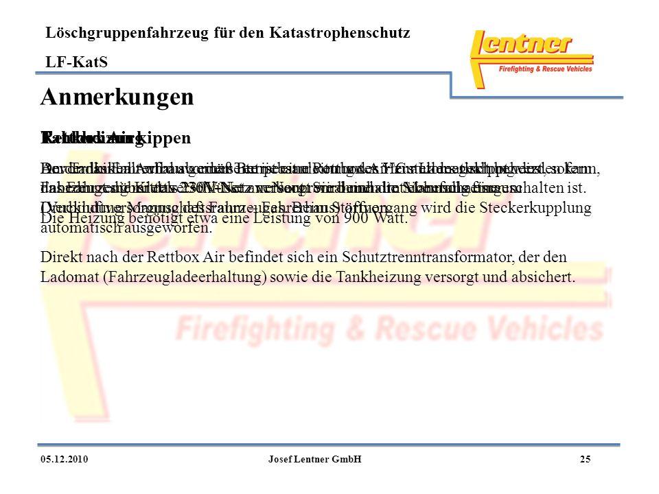 Anmerkungen Fahrerhaus kippen Rettbox Air Tankheizung