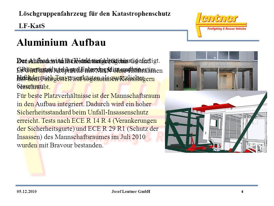 Aluminium Aufbau Der Aufbau wird im Werk aus Aluminium gefertigt.