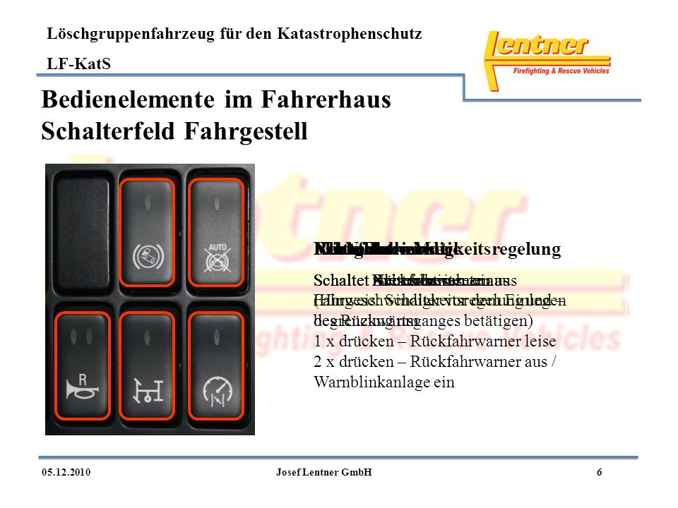 Bedienelemente im Fahrerhaus Schalterfeld Fahrgestell