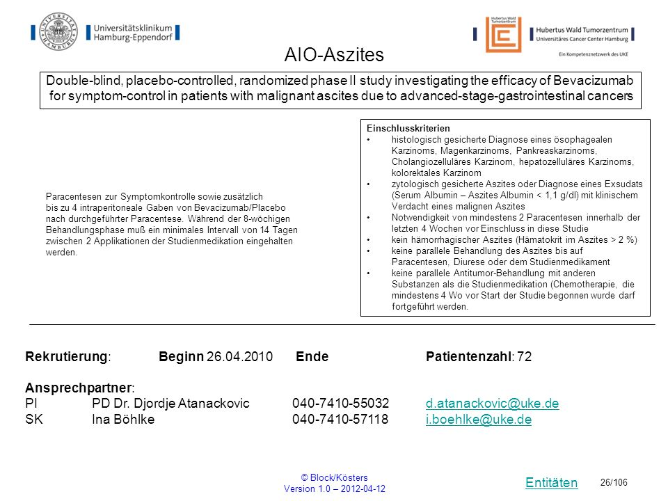 AIO-Aszites Double-blind, placebo-controlled, randomized phase II study investigating the efficacy of Bevacizumab.