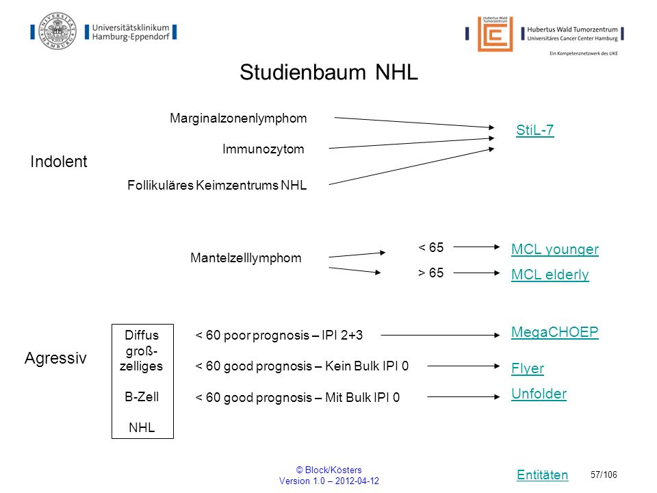 Studienbaum NHL Indolent Agressiv StiL-7 MCL younger MCL elderly
