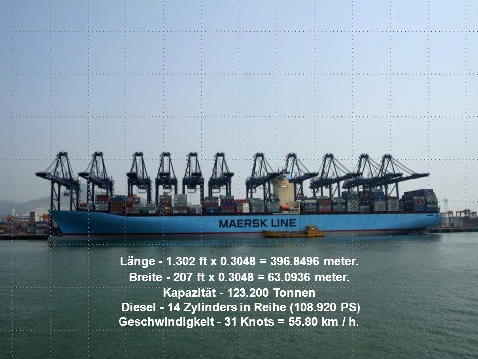 Länge - 1.302 ft x 0.3048 = 396.8496 meter. Breite - 207 ft x 0.3048 = 63.0936 meter.