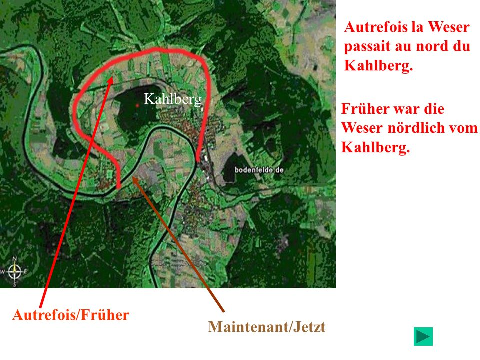 Autrefois la Weser passait au nord du. Kahlberg. Kahlberg. Früher war die. Weser nördlich vom. Kahlberg.