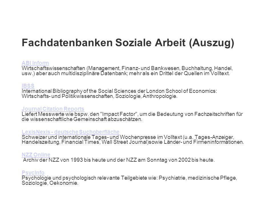 Fachdatenbanken Soziale Arbeit (Auszug)