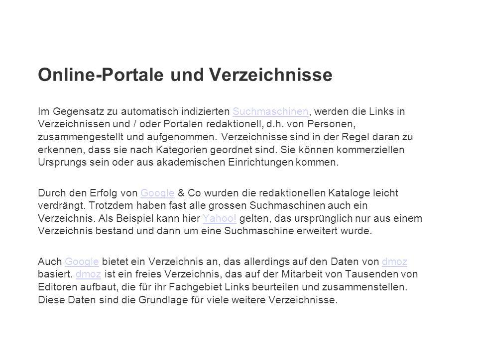 Online-Portale und Verzeichnisse
