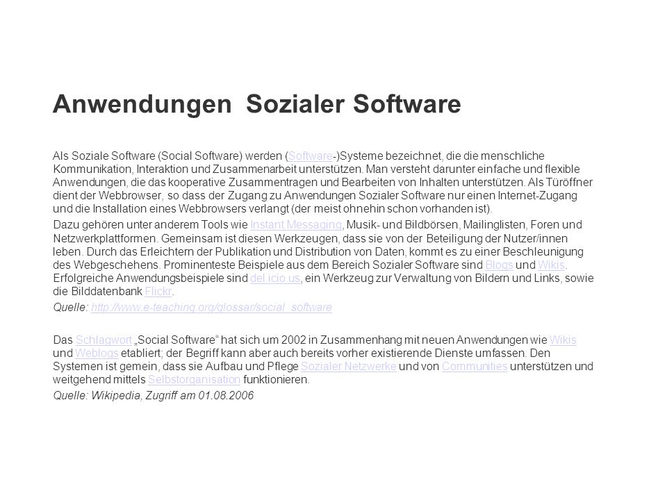Anwendungen Sozialer Software