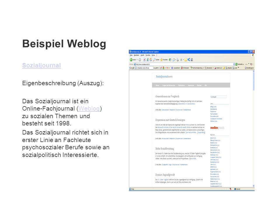Beispiel Weblog Sozialjournal Eigenbeschreibung (Auszug):