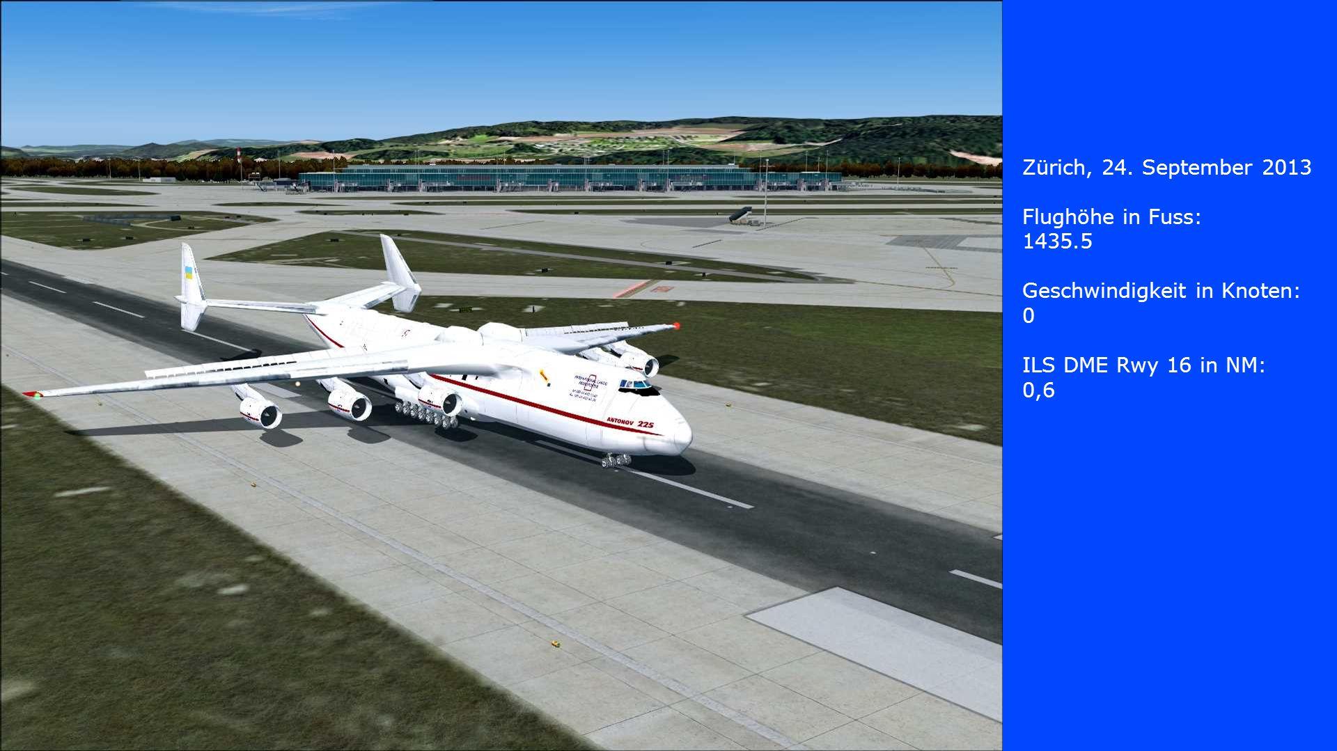 Zürich, 24. September 2013 Flughöhe in Fuss: 1435.5. Geschwindigkeit in Knoten: ILS DME Rwy 16 in NM: