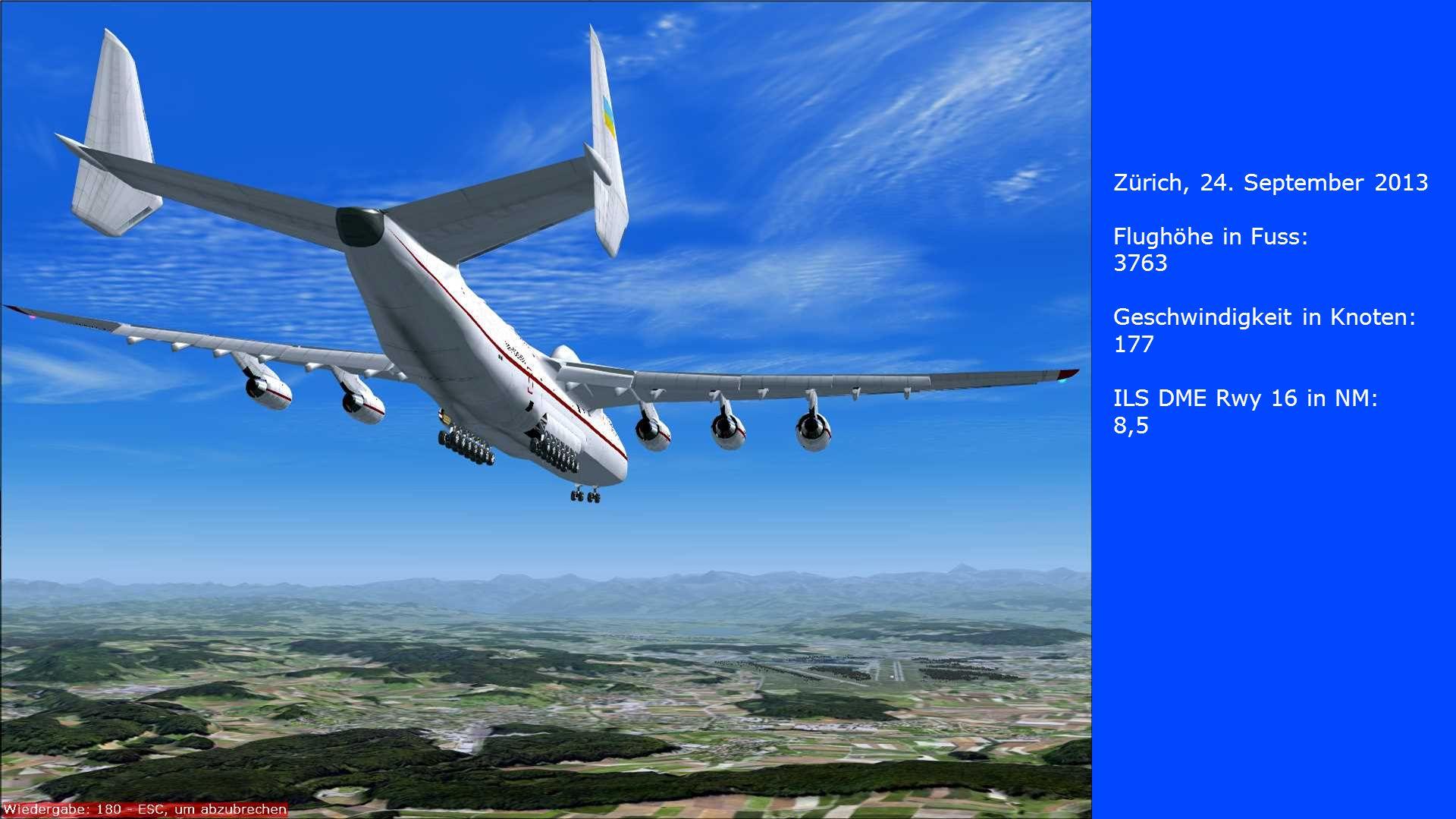 Zürich, 24. September 2013 Flughöhe in Fuss: 3763. Geschwindigkeit in Knoten: 177. ILS DME Rwy 16 in NM: