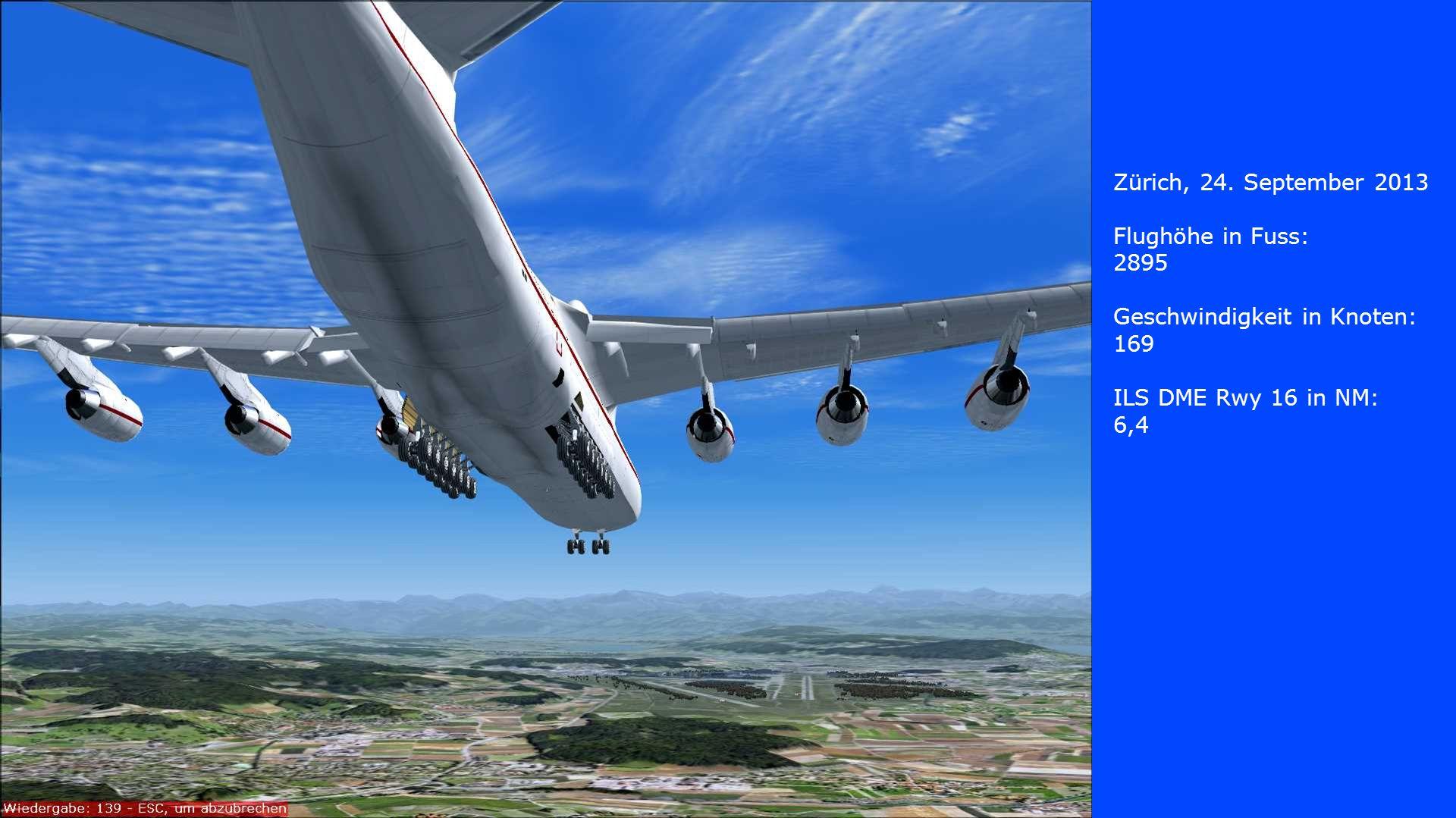 Zürich, 24. September 2013 Flughöhe in Fuss: 2895. Geschwindigkeit in Knoten: 169. ILS DME Rwy 16 in NM: