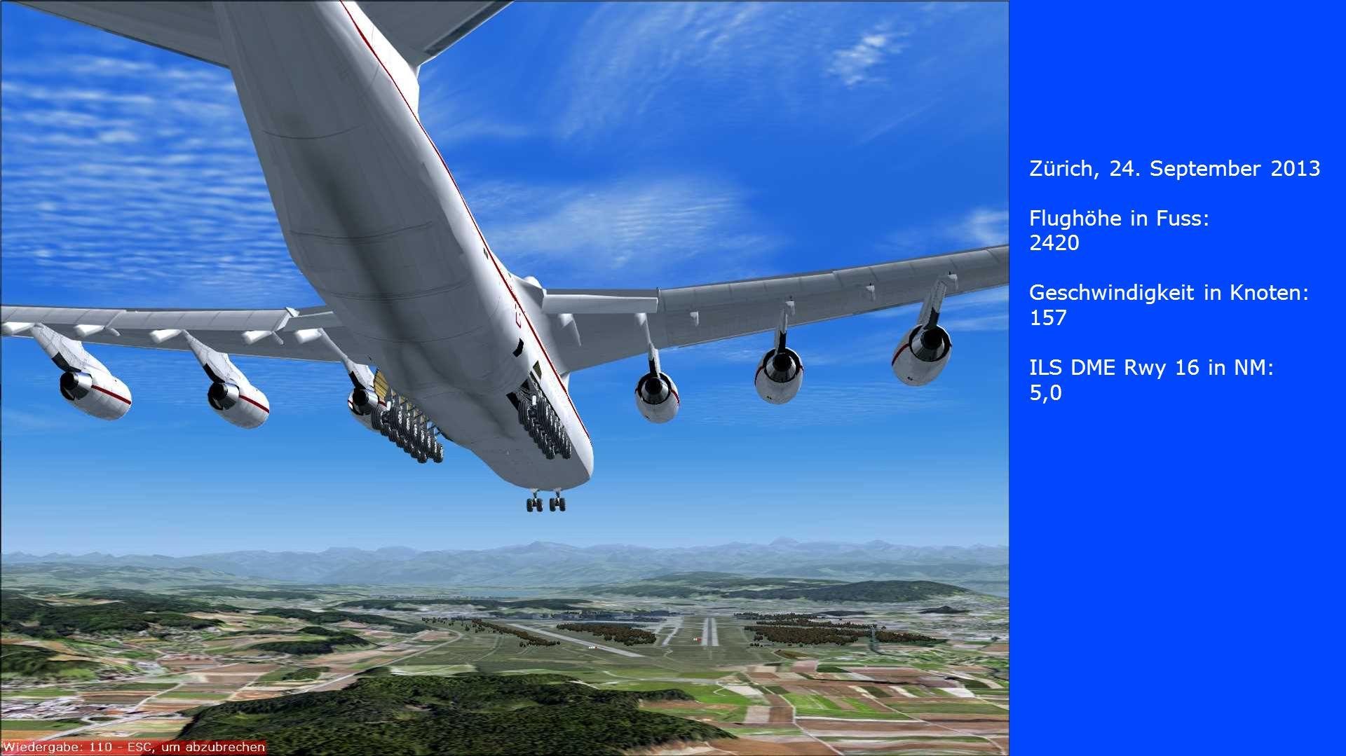 Zürich, 24. September 2013 Flughöhe in Fuss: 2420. Geschwindigkeit in Knoten: 157. ILS DME Rwy 16 in NM: