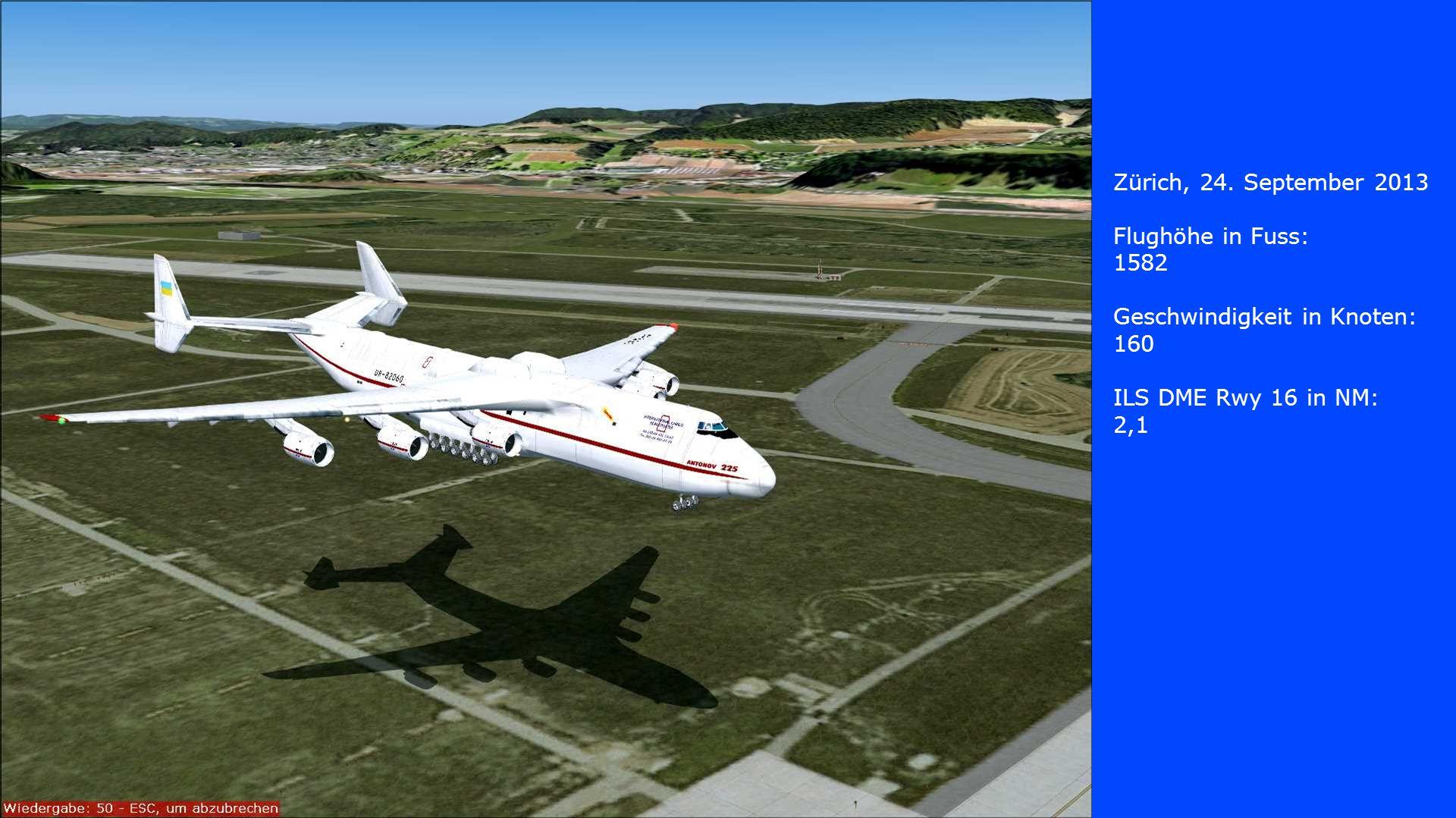 Zürich, 24. September 2013 Flughöhe in Fuss: 1582. Geschwindigkeit in Knoten: 160. ILS DME Rwy 16 in NM: