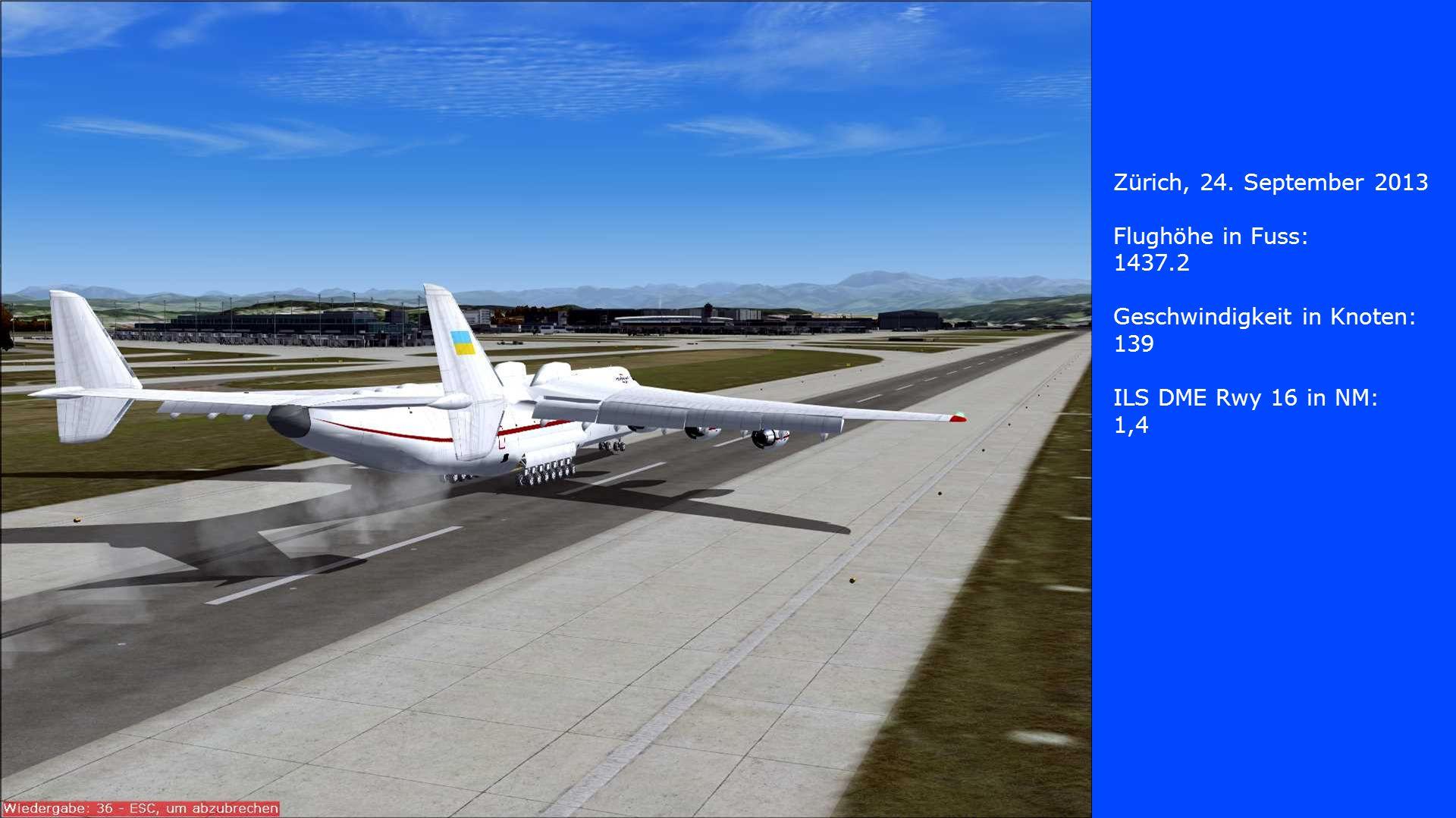Zürich, 24. September 2013 Flughöhe in Fuss: 1437.2. Geschwindigkeit in Knoten: 139. ILS DME Rwy 16 in NM: